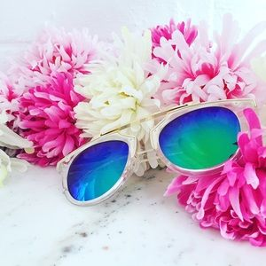 """Erica Rose Accessories - """"Madeline"""" Sunglasses    Clear & Green/Blue Mirror"""