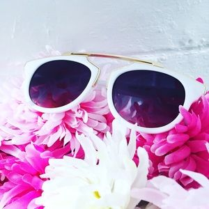 "Erica Rose Accessories - ""Madeline"" Sunglasses    White & Black"