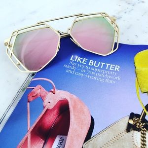 "Erica Rose Accessories - ""Charlotte"" Sunglasses    Pink Mirror Geometric"