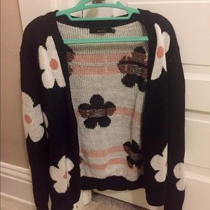 Ark & Co Sweaters - Ark & Co. Black flower cardigan.