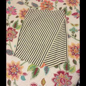 The Loft black and white striped skirt
