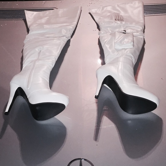 60% off Shoes - White thigh high boots. Size 9. from Amina's ...