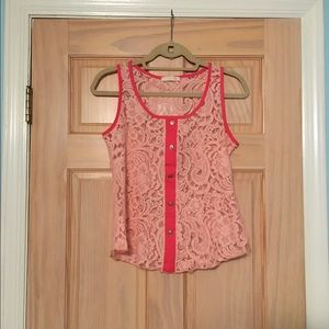 Coral Pink Buttondown Lace Blouse