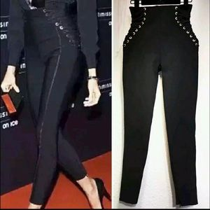 Lace Up high waist skinny stretch pants new black