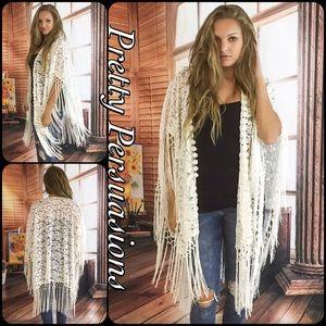 Pretty Persuasions Sweaters - SALE🎉NWT White Lace & Fringe Boho Kimono Cardigan