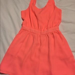 Neon Coral tie back Romper/Dress