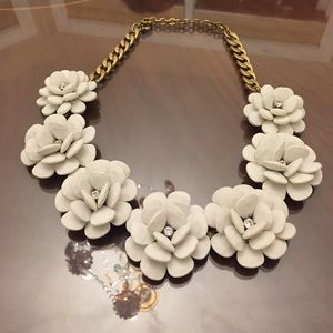 White Flower & Crystal J. Crew Statement Necklace