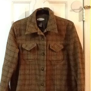 Women's Brown Plaid Jacket Size Small Fall Fashion