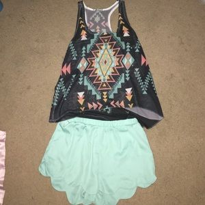 Outfit, tank top blouse and flowy shorts.