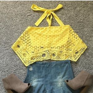 Tops - Sunny day lace top in yellow