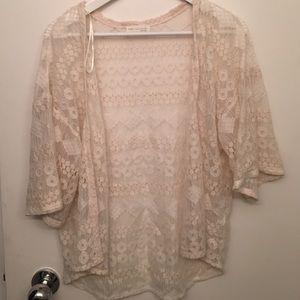 Crochet lace open cardigan from Zara