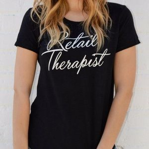 "Black ""Retail Therapy"" tee"