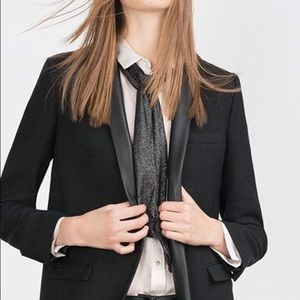 Zara Jackets & Blazers - Black leather and wool long blazer