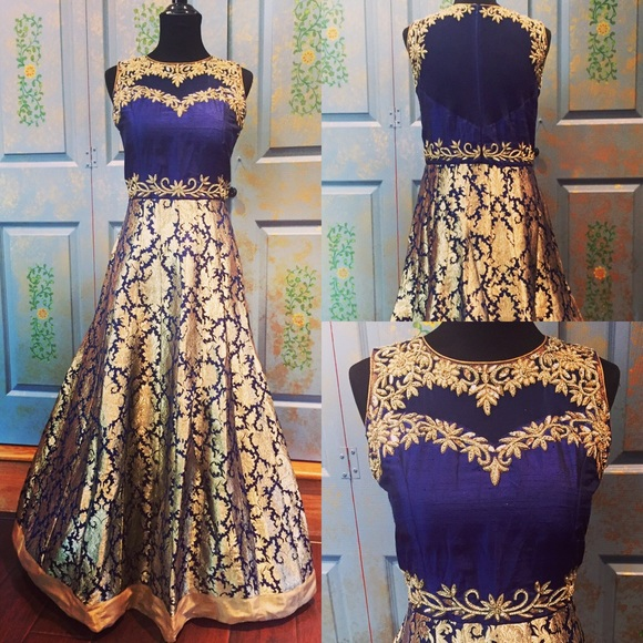 Dresses | Gold Royal Blue Silk Brocade Gown | Poshmark