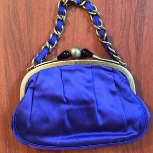 J. Crew cobalt blue silk clutch / purse NWT