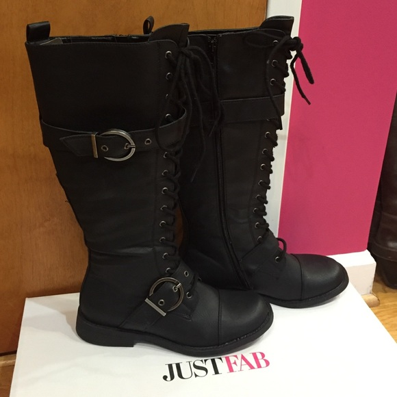 NIB Just Fab Armey Black Lace Up Boots 240178575