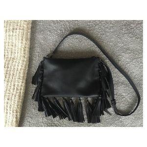 Antik Kraft Handbags - Antik Kraft Black Tassel Crossbody Clutch