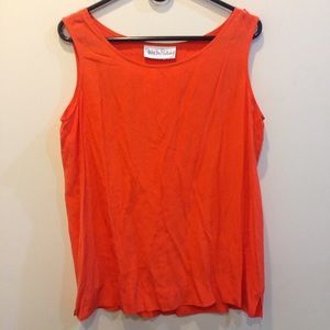 Diane von Furstenberg Tops - Vintage DVF Vibrant Orange Silk Sleeveless Blouse