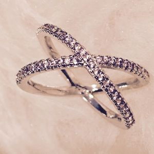 Sterling Silver X-Ring Cross Cubic Zirconia Ring