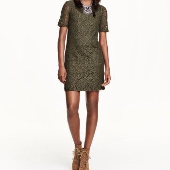 ccc85ff37c97 H M Dresses   Skirts - Khaki Lace Dress 🍂