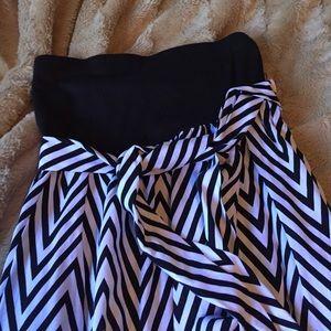Strapless chevron dress S