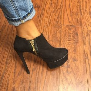 Zara suede platform booties w/ gold detail zipper