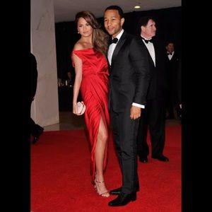 Red Silk Balenciaga Dress