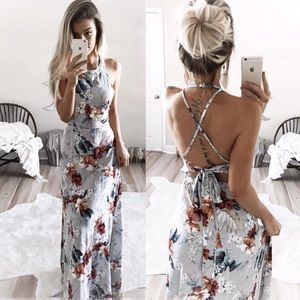 Empress Cross Back Floral Maxi Dress