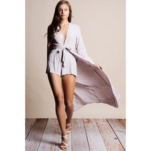 Silver Long Sleeve Maxi Romper Dress