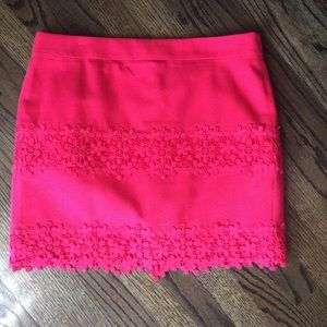 Pink J.Crew Cotton Lace Skirt