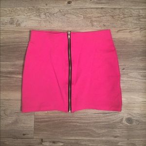Hot pink tight mini skirt with zipper front