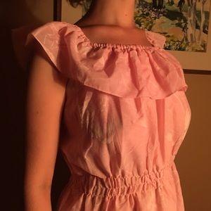 Vintage Pink Floral Cotton Midi Sun Dress