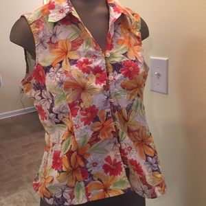 Talbots petites PM floral tropical sleeveless top