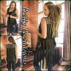 Pretty Persuasions Jackets & Blazers - SALE💜Olive Faux Suede Fringe & Embroidered Vest