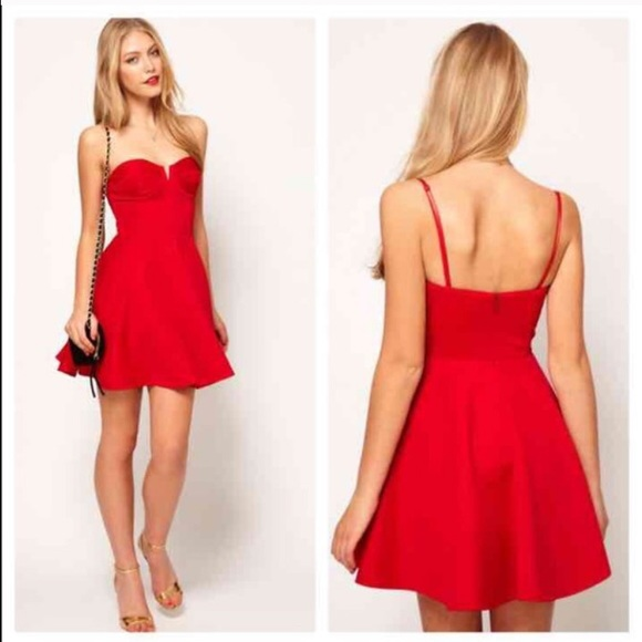 9cadc71c6c ASOS Dresses   Skirts - ASOS Corset Red Skater Dress