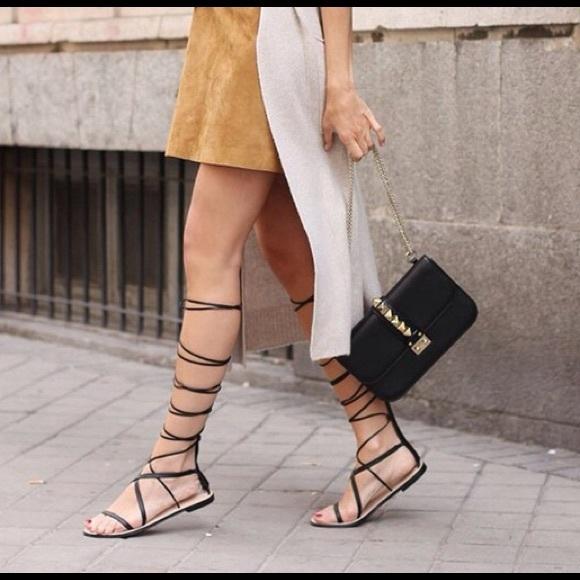 4657f08699ed Zara Lace Up Leather Gladiator Sandals. M 57e06116c6c795401a00440e
