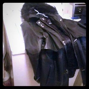 Jackets & Blazers - Womens winter leather hood coat