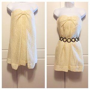 BCBGMaxAzria Dresses & Skirts - BCBG Cream Petal Pattern A Line Mini Dress NWT