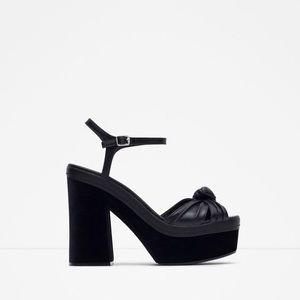 ZARA Block heel velvet platform Sandals
