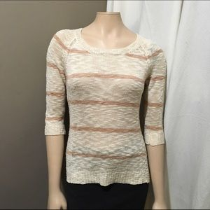 Pink Rose Sweaters - Pink Rose Striped Oatmeal Colored Sweater