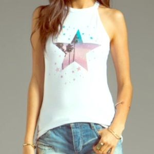 Wildfox starry palms muscle tank top