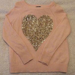 H&M pink w/ gold heart sweater