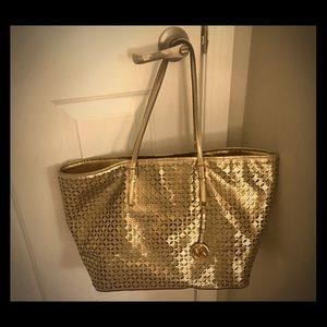 Michael Kors Perforated Gold Handbag & Wallet