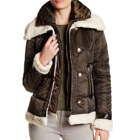 f43d665f5e5 VINCE CAMUTO FAUX SHEARLING TRIM JACKET