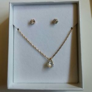 H&M rhinestone set necklace earrings studs
