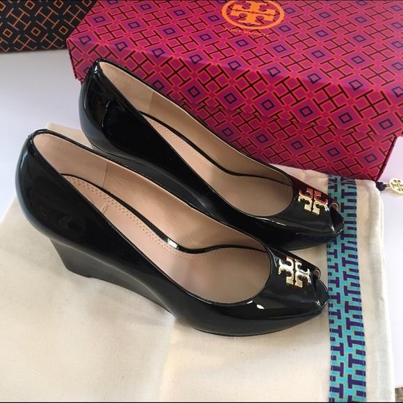 31e1dd46655 Tory Burch Black Jade Patent Peep Toe Wedges