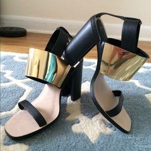 ZARA Golden block heel strap sandals, size 10