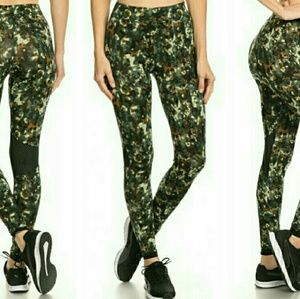 Pants - Army green mesh detail workout leggings