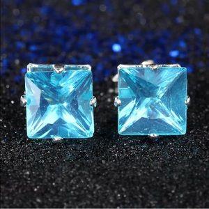 Aqua Blue Princess Silver Stud Earrings