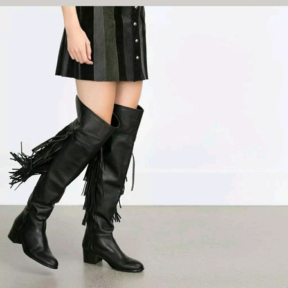 338a4831e1a Free People Shoes - ZARA XL OVER THE KNEE FLAT LEATHER BOOTS fringe
